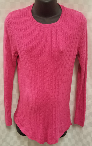 Large Rib Knit Long Sleeve Pink Maternity Sweater