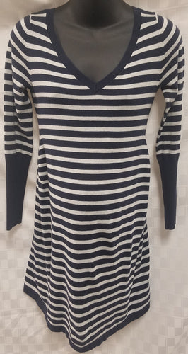 Small Blue & Grey Long Sleeve Striped Maternity Sweater Dress