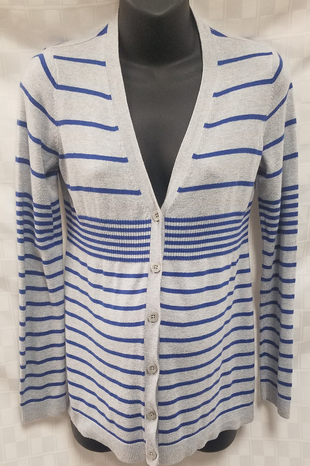 Small Blue & Grey Striped Button Up Maternity Cardigan Sweater