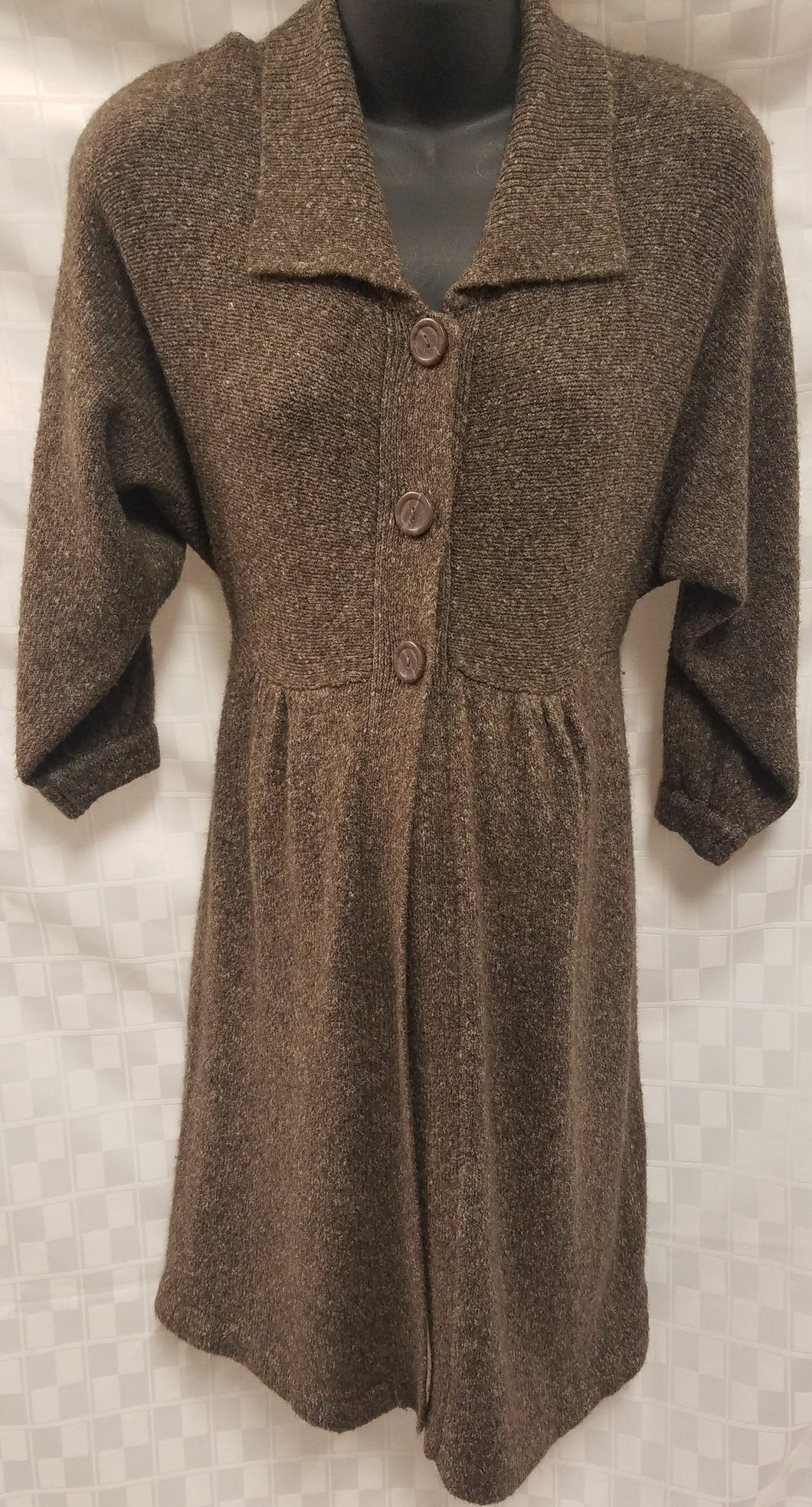 Small Brown Open Front With Buttons Maternity Cardigan