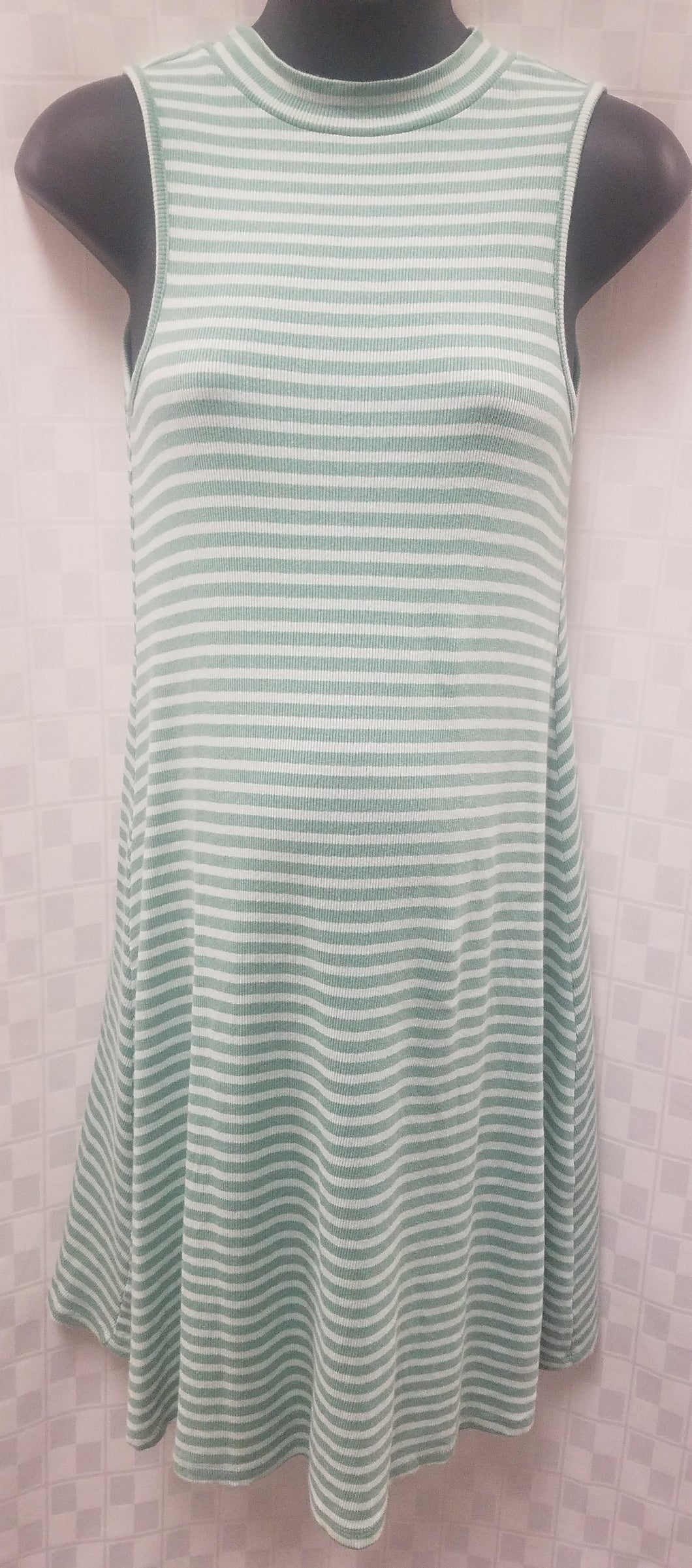 Sleeveless Green Striped Maternity Dress