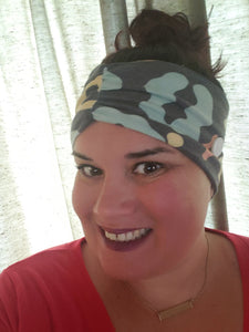 Dark Gray With Mint/Pink/Yellow Print Headband