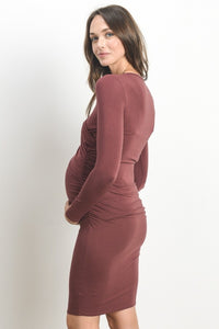 Cross Neck Red Brick Small Maternity/Nursing Dress