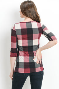 Burgandy Plaid Maternity Top