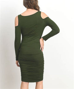 Cold Shoulder Maternity Dress in Olive