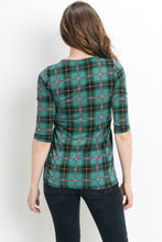 Green Plaid Maternity Top