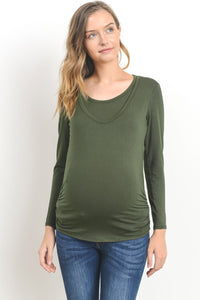 Ruched Long Sleeve Maternity/Nursing Friendly Top in a Variety of  Colors