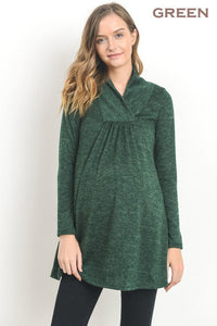 Long Sleeve Shawl Collared Maternity Sweater-2 Colors