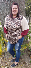 Leopard Print With Burg/Creme Balloon Sleeves Top