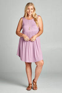Sleeveless Jersery Lily Lavender Swing Dress