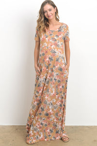 Floral Mustard Side Pocket Maxi Dress