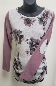 Mauve Floral Ruched Maternity Top