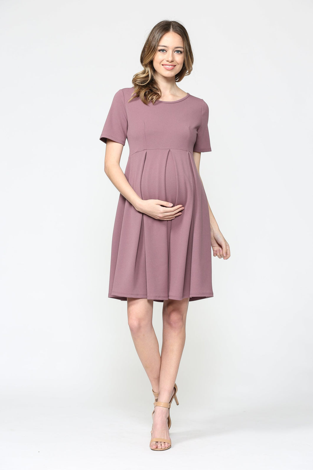 Mauve Front Pleated Maternity Swing Dress