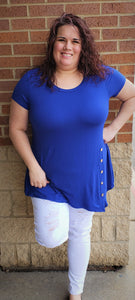 Soild Short Sleeve Royal Blue Top With Side Buttons