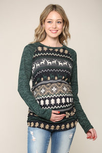 Christmas Detail Ruched Longsleeve Maternity Top-2 Colors