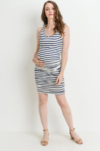 Stripe Navy & White Maternity/Nursing Friendly Tank Dress