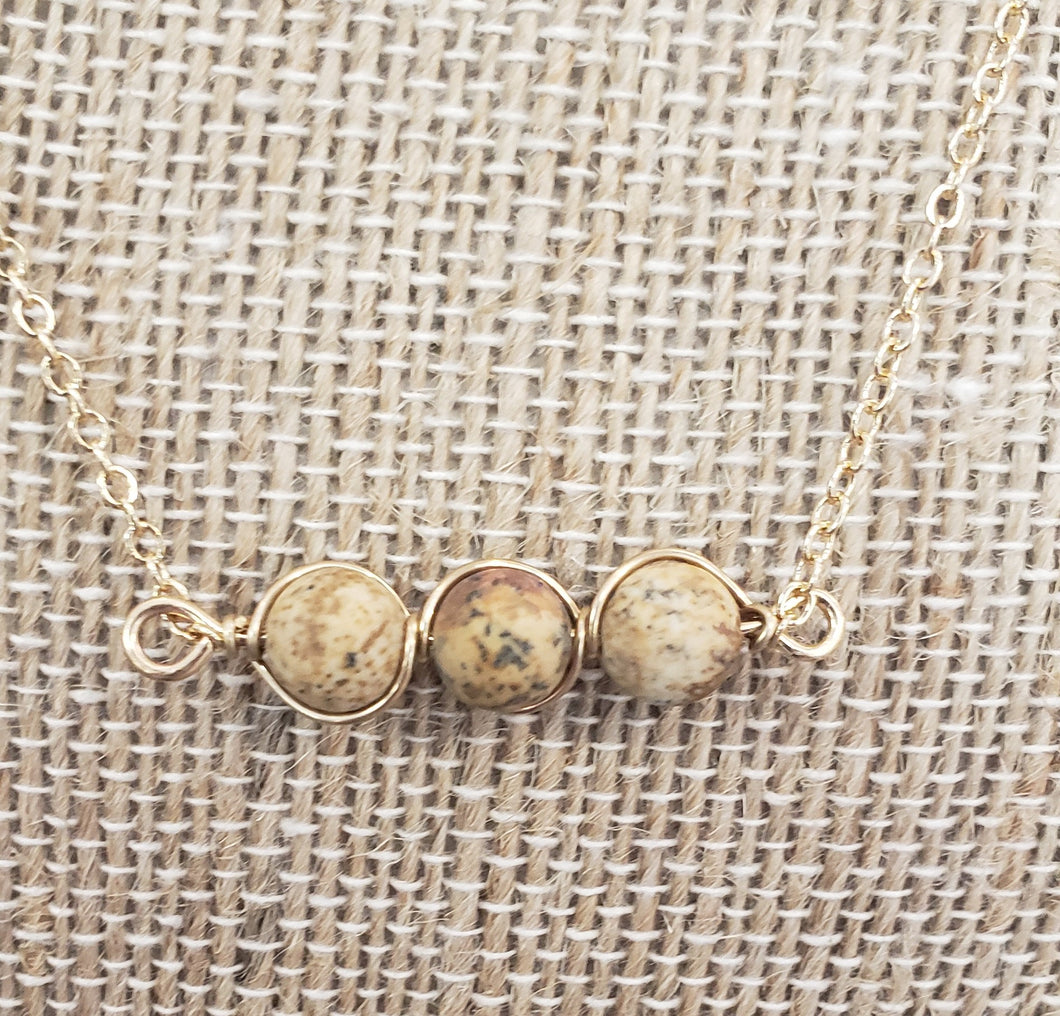Natural Tan Stone Short Necklace