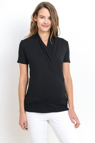 Surplice Maternity & Nursing Light Black Top