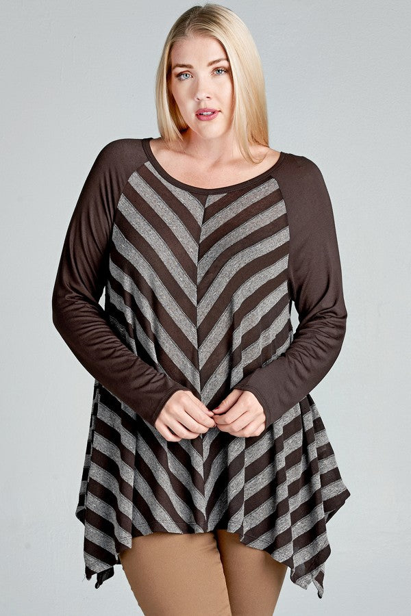 Chevron Striped Brown Knit Top