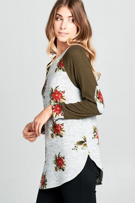 Floral Hacci Tunic Heather Gray/Olive Top