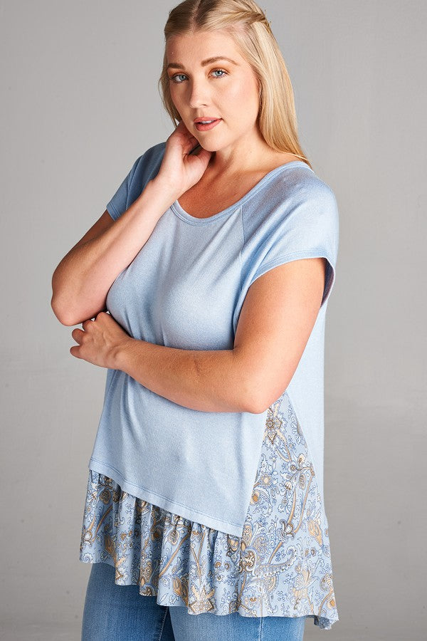 Short Sleeve Hacci Knit Floral Print Blue Top