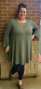 Olive Green Solid Tunic Top