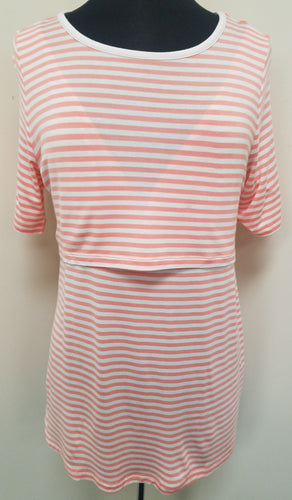 Orange & White Striped Popover Nursing Shirt