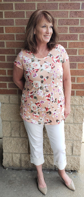 Peach Floral Casual Short Sleeve Tunic Top