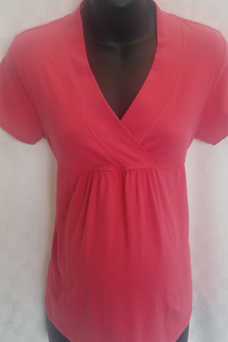 Small Cherry Rose Cross Front Maternity/Nursing Friendly Tie Back Top