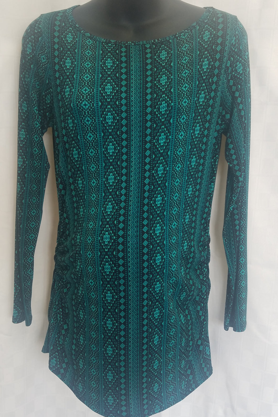 Medium Green & Black Print Long Sleeve Maternity Tunic