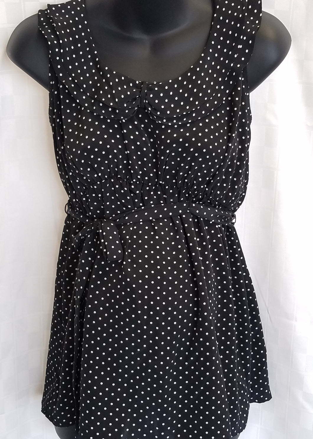 Large Black with White Polka Dot Sleeveless Maternity Blouse