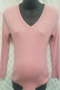 Medium Ribbed Knit Two Toned Pink Maternity Sweater