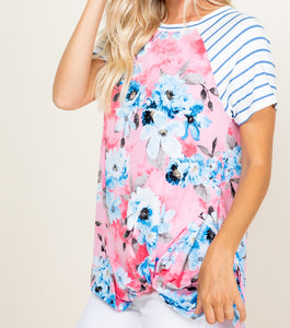 Pink Floral Side Twist Short Sleeve Top