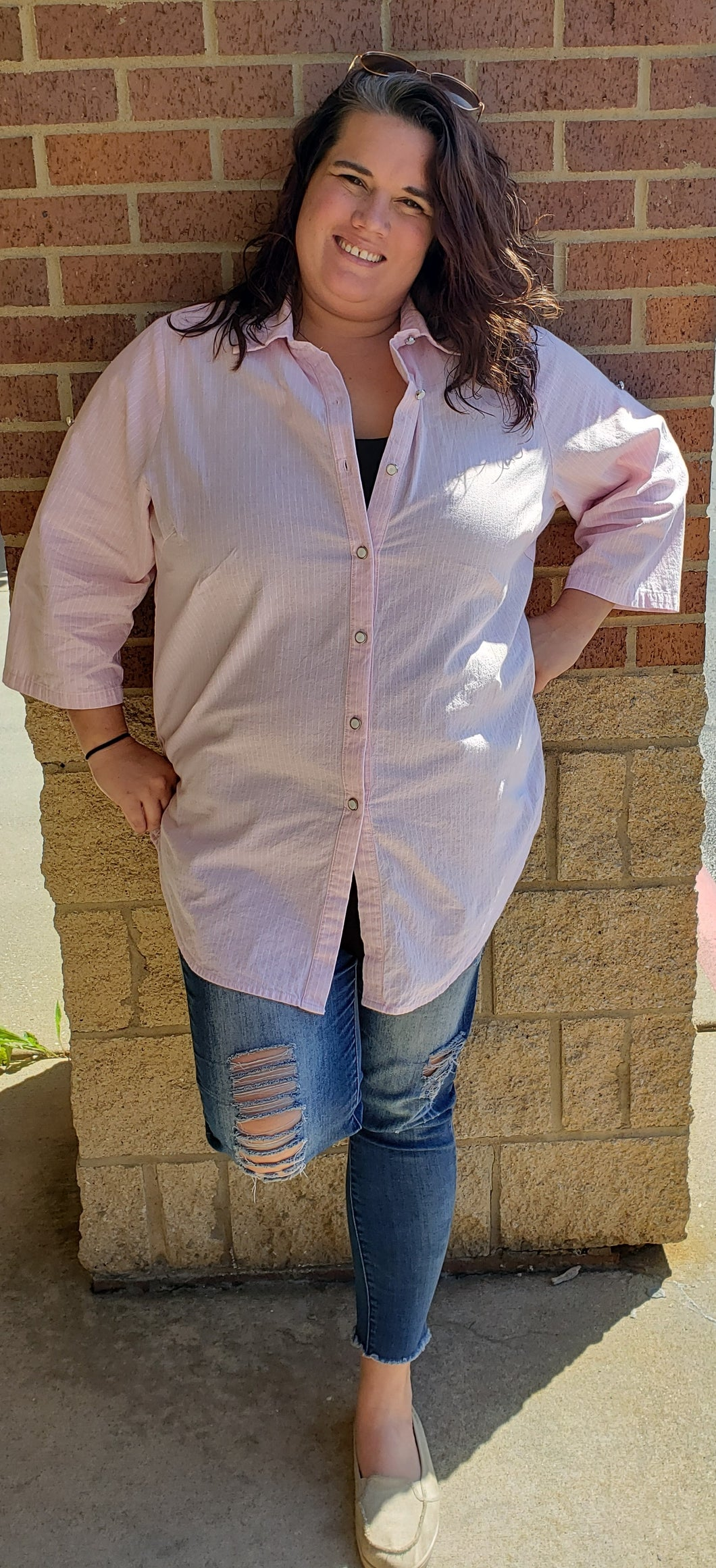 Pink & White Pin Stripe Button Up Top