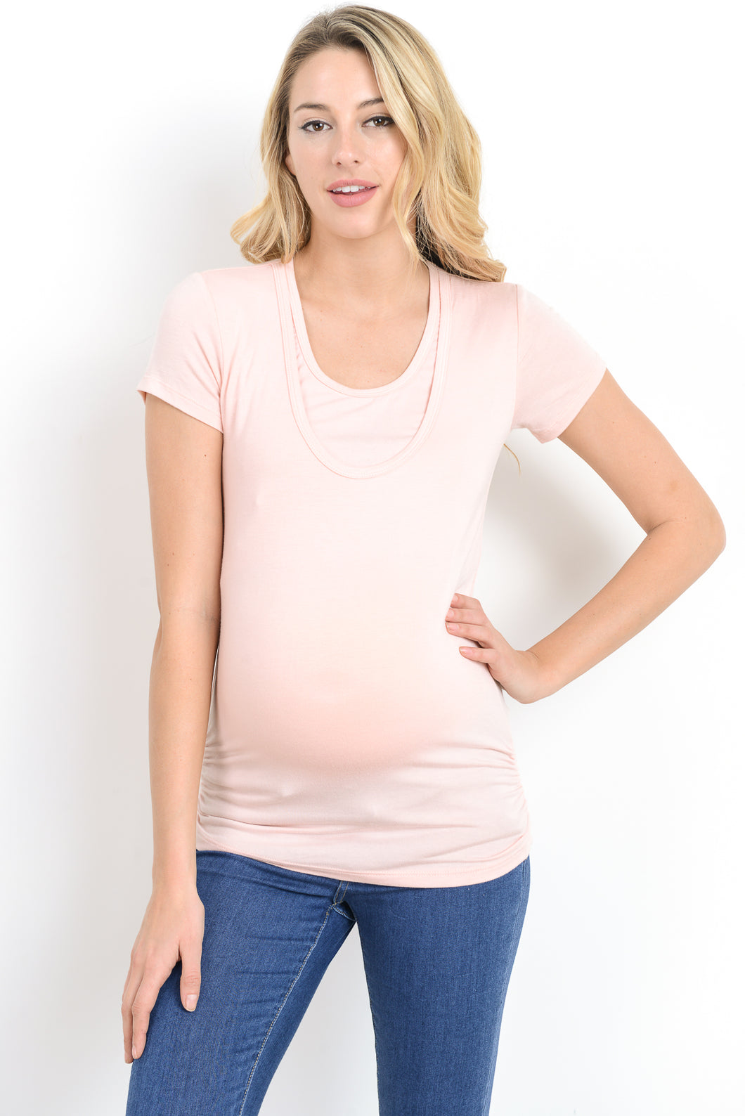Ruched Maternity/Nursing Friendly Scoop Neck Light Pink Top