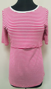 Pink & White Striped Popover Nursing Top