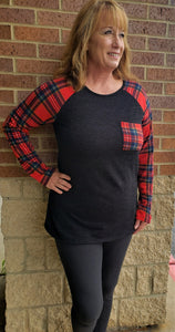 Black & Red Plaid Long Sleeve Top