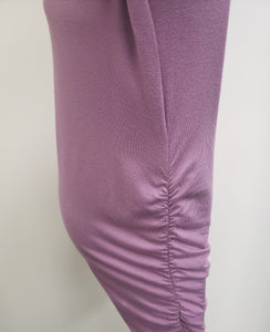 Plum Scoop Neck Ruched Maternity Tee