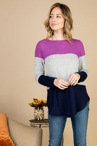 Tri Color Hacci Brush Long Sleeve Tunic Top