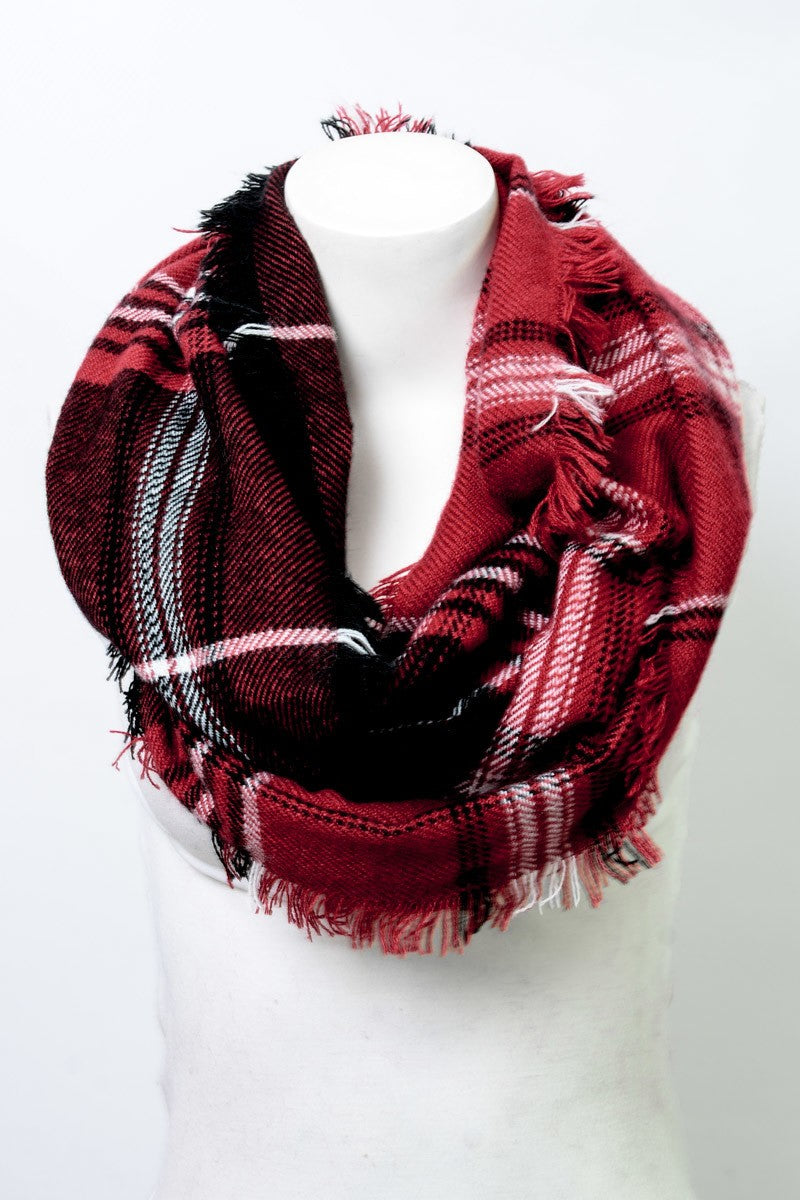 Red Plaid Frayed Edge Infinity Scarf