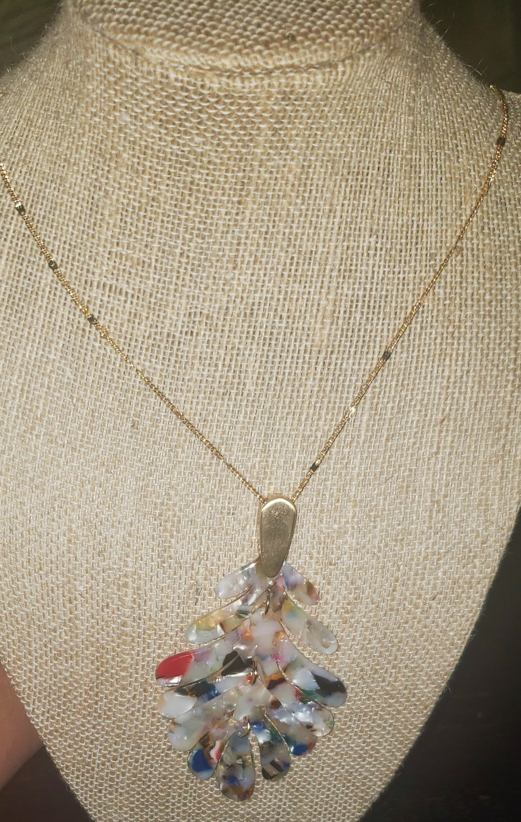 Resin Multi Colored Long Gold Necklace