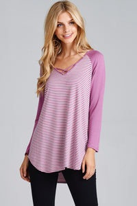 Rose Purple V-Neck Striped Tunic Top