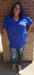 Blue High/Low Button Up Tunic Top
