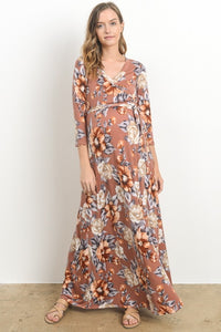 Rust Floral Wrap Maternity & Nursing Maxi Dress