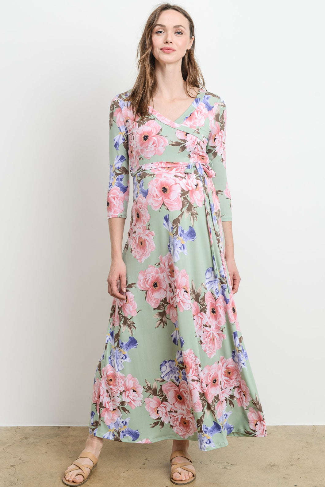 Sage Floral Maternity/Nursing Friendly Wrap Maxi Dress