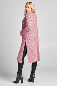 Two-Tone Soft Hacci Rose Pink Cardigan With Side Silts