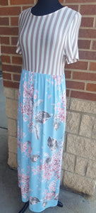 Striped Light Blue Floral Maxi Dress