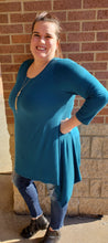 Dark Teal Solid 3/4 Sleeve Tunic Top