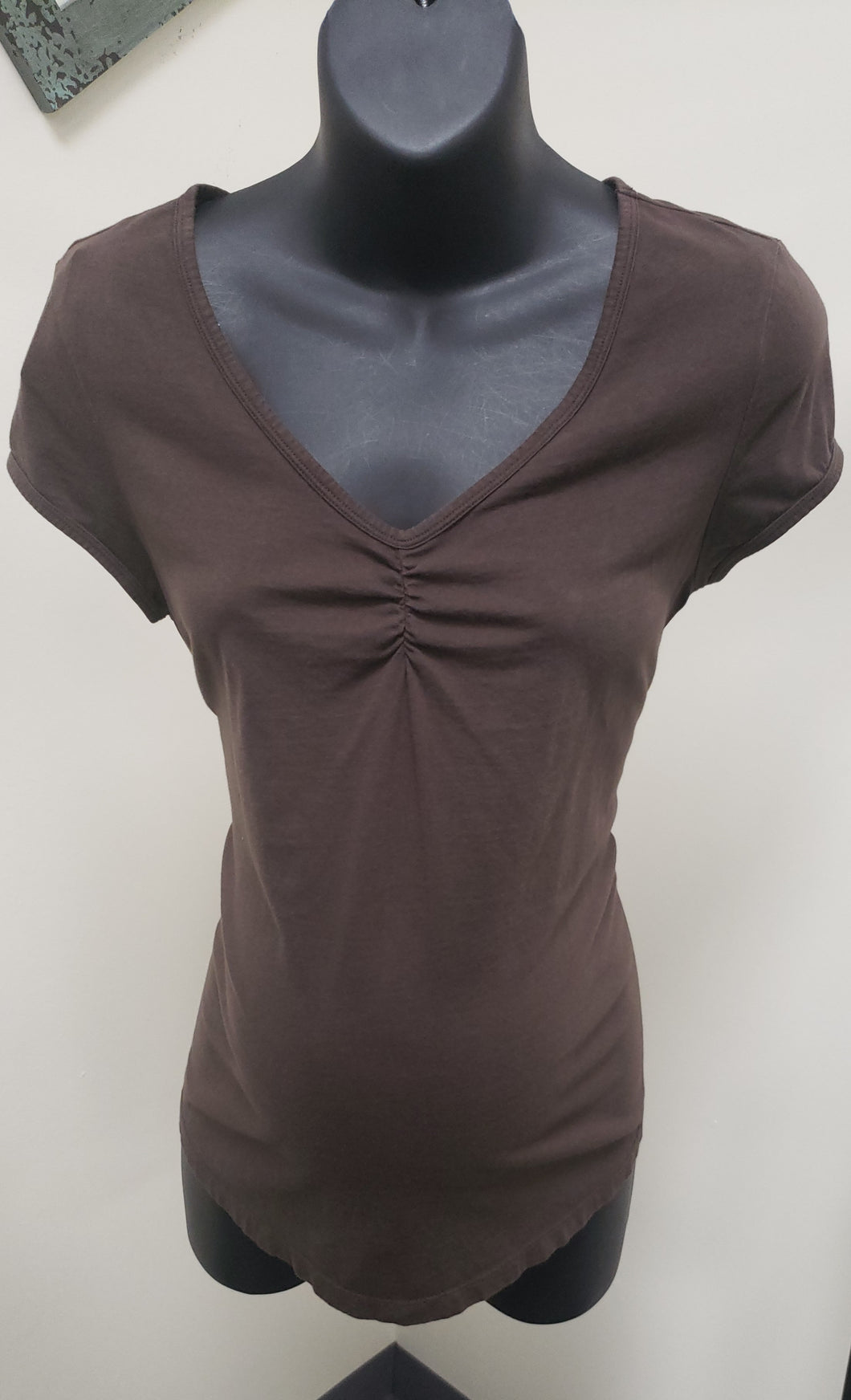 Large V-Neck Cap Sleeve Brown Maternity Tee