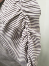 Large Tan/Brown Striped Cap Sleeve Maternity Tee